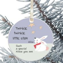 Ceramic Niece's Keepsake Christmas Decoration - Twinkle Star Design
